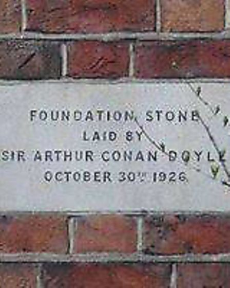 The foundation stone of Rochester Square spiritualists temple laid by Sir Arthur Conan Doyle. Pictur