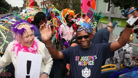The carnival elders bus, organised by St Josephs Hospice, for the Hackney Carnival. Picture: Hackne