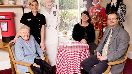 Waveney MP Peter Aldous with resident Gladys Mount, deputy manager Rachel Jinkerson and manager Dawn