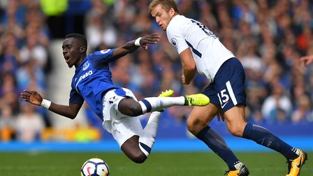 Tottenham Hotspur's Eric Dier (right) and Everton's Idrissa Gueye battle for the ball (pic Dave Howa