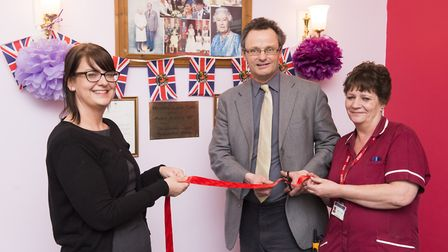 Peter Aldous with manager Dawn Bunter and head house keeper Glynis Robinson. Picture: Nick Butcher