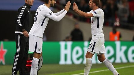 Tottenham Hotspur's Harry Kane is subbed for Fernando Llorente during the UEFA Champions League, Gro