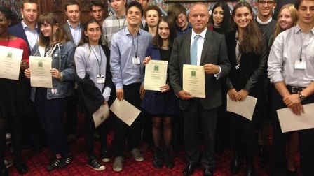 MP Mike Freer with pupils at parliament Picture: Mike Freer MP
