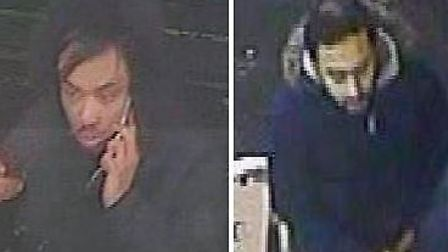 Police have issued the images of two men they want to trace after an elderly woman's debit card was