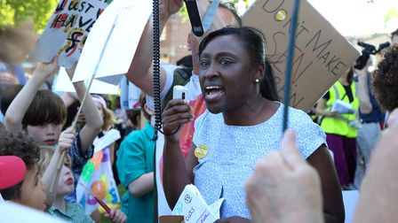 Hackney Cllr Antoinette Bramble on the march against funding cuts to education in London Fields.