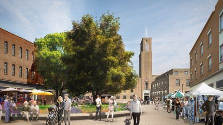 An artist's impression of the Town Hall Square from the developer's plans. Picture: Far East Consort
