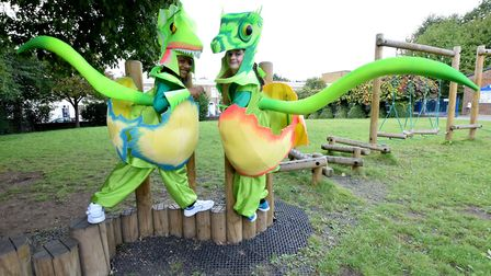 Raphael Estavia and Kaycee Cullen, both 8, in their carnival costumes at St Andrew's Primary School