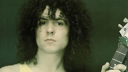 Marc Bolan holding a 1968 Gibson Flying V guitar which he used during a 1972 Top Of The Pops perform