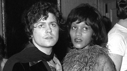Marc Bolan pictured with his girlfriend, American singer Gloria Jones, at a party thrown by Rod Stew