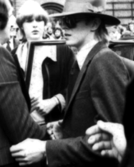 David Bowie attends Marc Bolan's funeral at Golders Green Crematorium in September 1977. Picture: PA