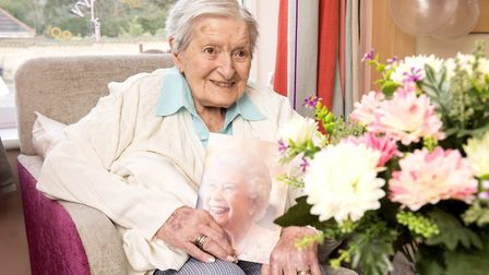 Audrey Fountain celebrates her 100th birthday at Kirkley Manor Care Home.Picture: Nick Butcher