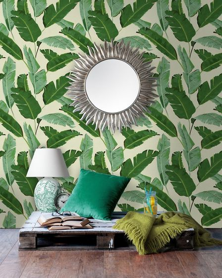 Banana leaves wallpaper by Mind The Gap, �150 a roll, Lime Lace. PA Photo/Lime Lace
