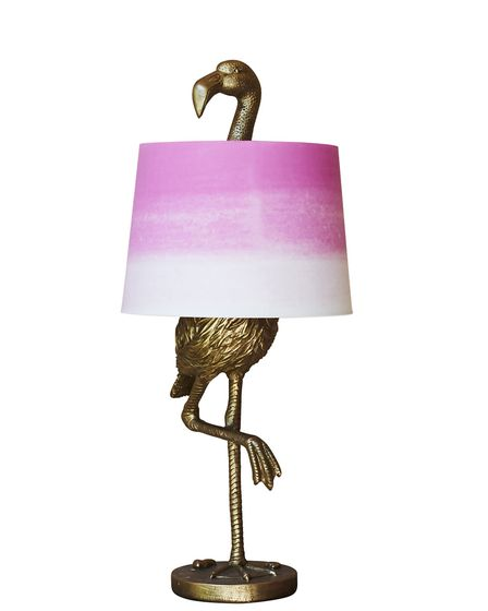 Gold flamingo table light, with shade, �135, Graham & Green.