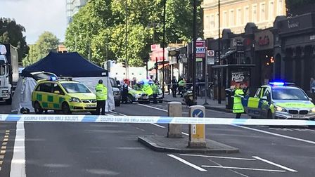 The scene of the crash in City Road. Picture: @999London