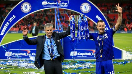 Chelsea manager Jose Mourinho (left) and John Terry (right) celebrate winning the 2015 League Cup (p