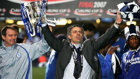 Jose Mourinho celebrates winning the League Cup with Chelsea (pic: Nick Potts/PA Images).