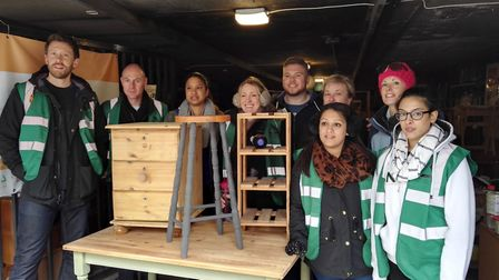 The Loop at Pembury team with some of their restored furniture. Picture: Groundwork