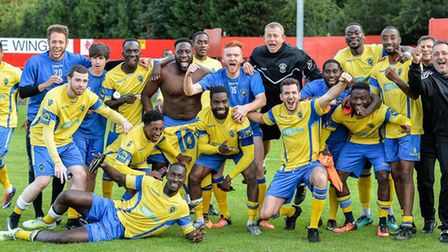 Haringey Borough celebrate their FA Cup second qualifying round win at Welling United (pic: David Cu