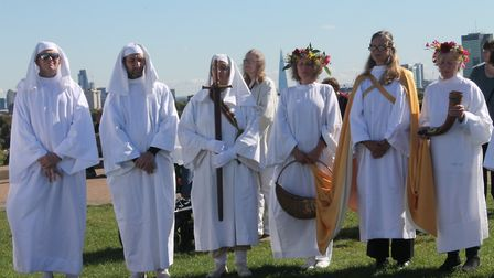 The druids observe a moment of silence. Picture: EMILY HISLOP