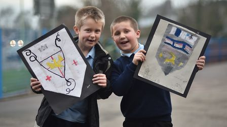 St Margaret's Primary Academy art week. Oliver and Charlie with their work.Picture: ANTONY KELLY