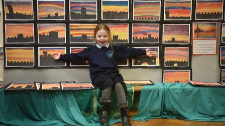 St Margaret's Primary Academy art week. Rhian with some of the work.Picture: ANTONY KELLY