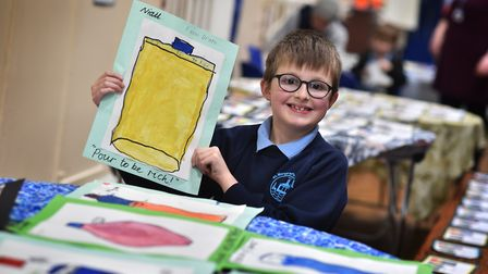 St Margaret's Primary Academy art week. Niall pictured with his work.Picture: ANTONY KELLY