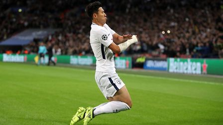 Tottenham Hotspur's Heung-min Son celebrates scoring his side's first goal of the game during the UE