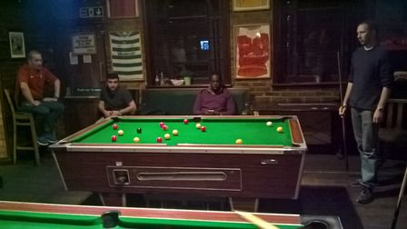 Action from the Hackney Pool League match between the Yucatan and the Manor