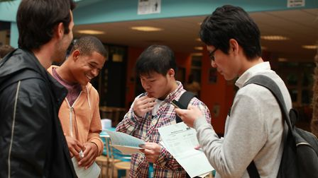 Students receive their A-levels results at Bsix College.