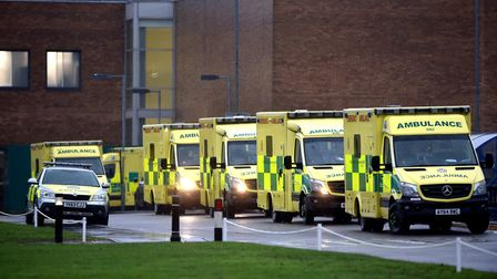 Ambulances queuing at the Norfolk and Norwich University Hospital A&E department. Picture: ANTONY KE