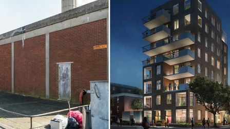 The boiler house in Pedro Street and, right, the proposed homes. Pictures: Sean Pollock/Hackney Coun