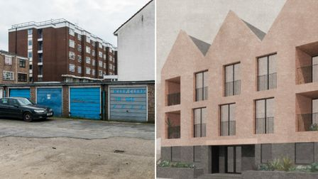 The garages in Mandeville Street and, right, the proposed homes. Pictures: Sean Pollock/Hackney Coun