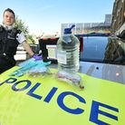 A police officer with the new acid attack response kit issued to response cars in Camden and Haringe