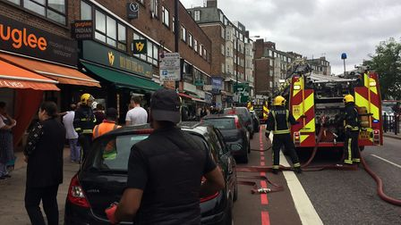 Six fire engines and 35 firefighters and officers tackled a fire at Guglee Indian Restaurant in Finc