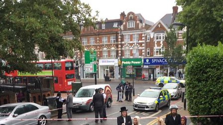 The scene in Stamford Hill after three men were stabbed. Picture: @999London