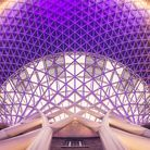The ceiling design of Kings Cross Station railway station concourse