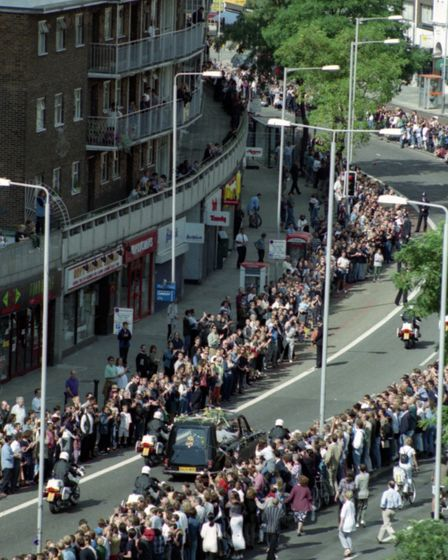 Princess Diana funeral cortege passes through Swiss Cottage. Picture Roy Cuckow
