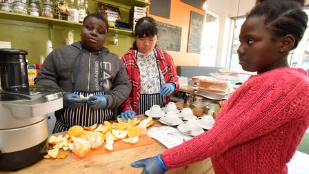 Members of the Morningside and Gascoyne Youth Club take over the NuDawn Cafe in Well Street. Picture