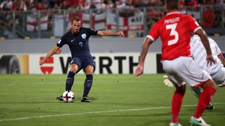England's Harry Kane scores his side's first goal of the game against Malta during the 2018 FIFA Wor
