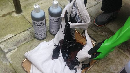 Within minutes the t-shirt was badly scorched and burned, and it completely dissolved in places