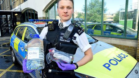A police officer with the new acid attack response kit issued to response cars in Hackney last weeke