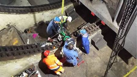 Previous work taking place beneath Bascule Bridge on the lifting mechanism. Picture: Highways Englan