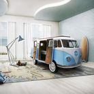 Luxury camper van children's bed with TV, sofa and minifridge, �40,695, available from Cuckooland
