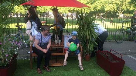 Green London Assembly Member Caroline Russell opens the 'people's parking bay' in London Fields and