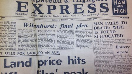 Front page of the Ham & High, January 1 1972