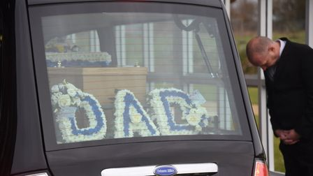 Flowers in the hearse for Normandy veteran Peter Hemp's funeral at the Waveney Memorial Park at Ello