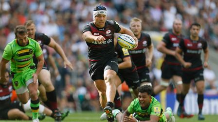 Saracens' Schalk Brits runs in to score their eighth try against Northampton Town last week (pic: Pa