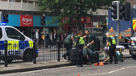 Police and paramedics at the scene of a collision in the Finchley Road. Picture: Nathan Louis