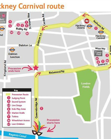 A map of the Hackney Carnival route