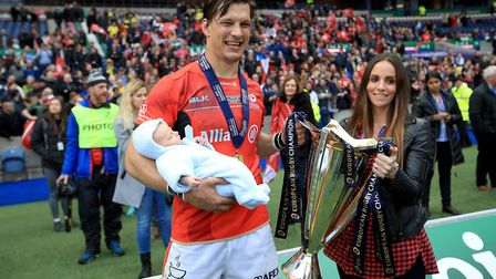 Saracens' Michael Rhodes celebrates with the European Champions Cup in May (pic Mike Egerton/PA)